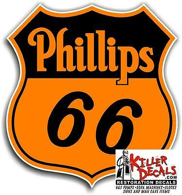 """12"""" EARLY PHILLIPS 66 Shield ORANGE GASOLINE DECALS GAS AND OIL STICKER"""