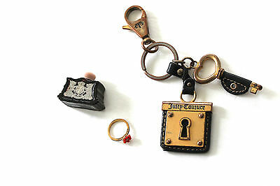 Juicy Couture Lot Perfume Flower Ring Lock & Key Chain Keychain Leather Fob