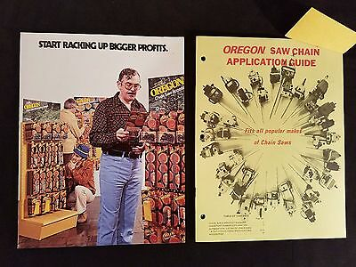 """Oregon Saw Chains Application Guide and Sales Brochure 1976 Illustrated 2 items"
