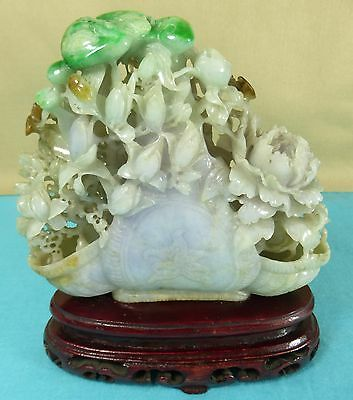 Superb Carved Hardstone Jade Basket Flowers Bats Woodstand Asprey London C1970
