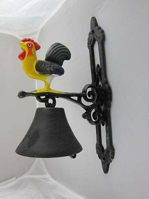 Rooster Chicken Black Iron Wall Hanging Door Bell Ring Door Bell