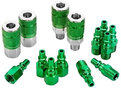 ColorConnex 14 Piece Coupler and Plug Kit Type B 1/4' NPT 1/4' Body Green Color