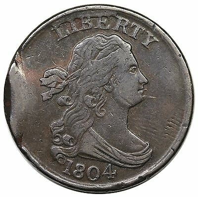1804 Draped Bust Half Cent, Spiked Chin, C-8, LDS, tab double strike, VF-XF