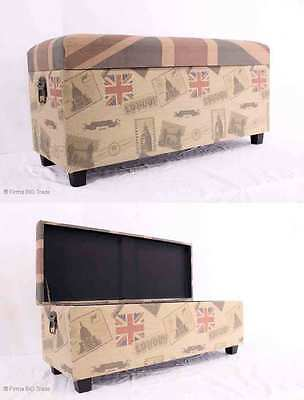 SET 2 Union Jack Sitzbank Sitztruhe Hocker Bank / Set Antique Style LONDON Bench