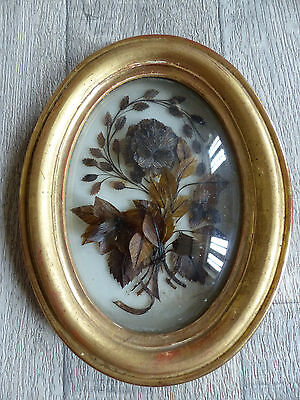 """SUPERB ANTIQUE FRENCH SENTIMENTAL MOURNING HAIR ART dated 1882 . 7 2/5 """" n2"""
