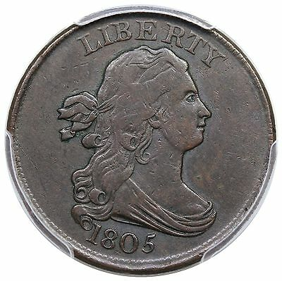 1805 Draped Bust Half Cent, Small 5, Stemless, C-1, PCGS VF30 CAC