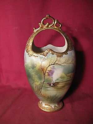 "10"" Tall Antique Nippon Handled Basket / Vase w Hand Painted Scene"
