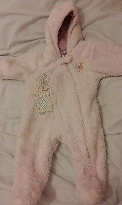 Pink baby girls fluffy next snowsuit all in one 0-3 months
