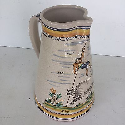 Antique Stoneware Pottery Water Pitcher Spanish Bull Fight Primitive Folk Vtg