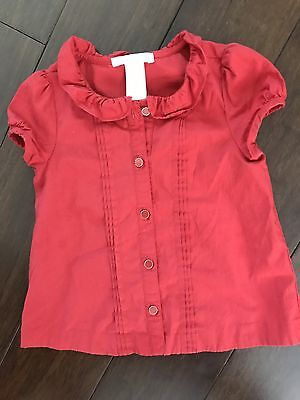 Size 2T Janie and Jack Red Button Blouse Shirt City Stroll Girls