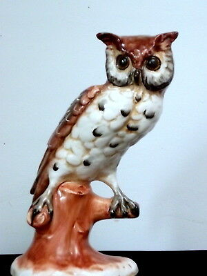 Vintage Large Ceramic Owl Figurine Made in Italy