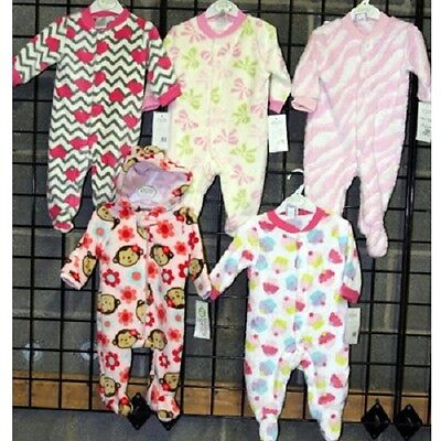 Girls Newborn 0/3M-9/12M Baby Gear coral fleece footed coveralls [GBGCFFC]