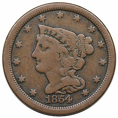 1854 Braided Hair Half Cent, C-1, choice VG-F