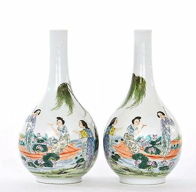 2 Early 20th Century  Chinese Famille Rose Porcelain Vase Lady & Lotus Flower Mk