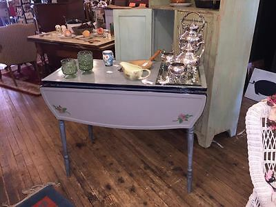Vintage 1940's Enamel Top Kitchen Table w/Drop Sides & Drawer, Porcelain, Dining