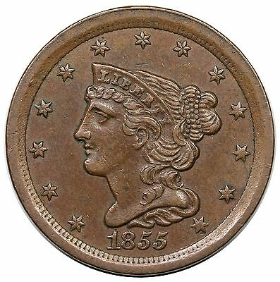 1855 Braided Hair Half Cent, C-1, choice AU