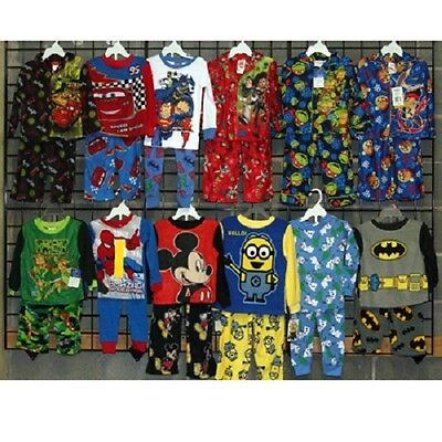 Boys licensed sizes 12M-5T two piece fall pajamas 48pcs. [BITLICFPJ]