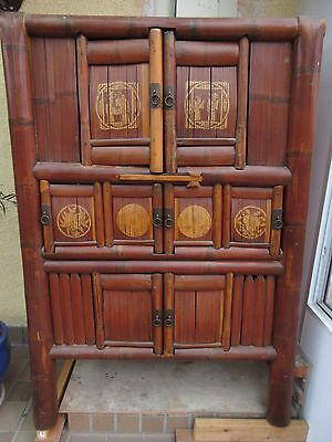 Antique Asian Bamboo Chinese Armoire Cabinet