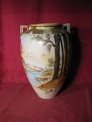 "10 1/2"" Tall Antique Nippon Vase w Hand Painted Scene & Pagoda Mark (as is)"