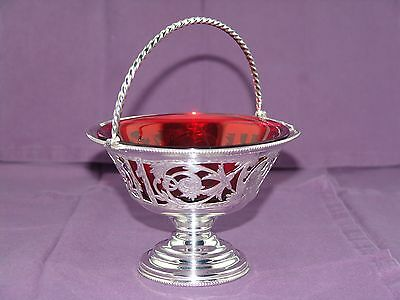 "SILVER FOOTED PIERCED BASKET w/ HANDLE ORIGINAL CRANBERRY GLASS BOWL INSERT 7""h"