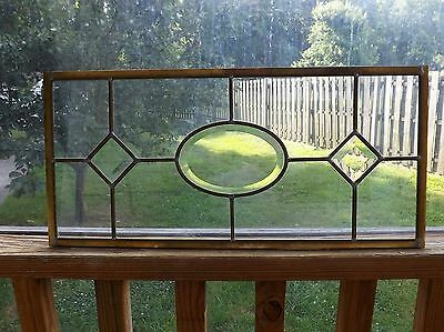 Vintage Beveled Leaded Stained Glass Window Clear  Salvage Transom Kitchen Brass
