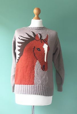 Vintage Horse Jumper. Great Warm Quirky Top. Size 10-14