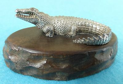Superb Zimbabwe Sterling Silver Statue Crocodile Animal Patrick Mavros Ca 1960