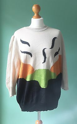Vintage Colourful Early 1990s Jumper. Cream, Black, Orange And Green. Size 10-12