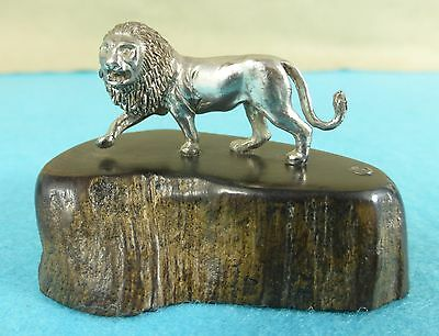 Superb Zimbabwe Sterling Silver Statue Male Lion Animal Patrick Mavros Ca 1960