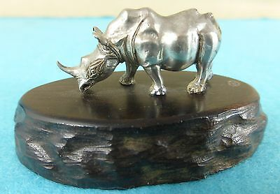 Superb Zimbabwe Sterling Silver Statue Rhinoceros Animal Patrick Mavros Ca 1960