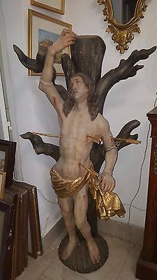 Antique wood carved sculpture of St Sebastian late 1600's - early 1700's