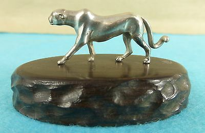 Superb Zimbabwe Sterling Silver Wood Statue Cheetah Animal Patrick Mavros C1960