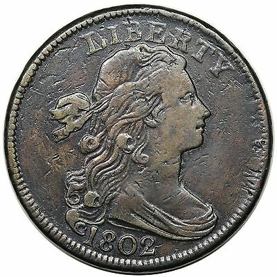 1802 Draped Bust Large Cent, Stemless Wreath, S-241, VF