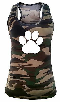 New Junior's Paw Print Camo Tank top Workout Fitness Exercise Gym Yoga Pet V304