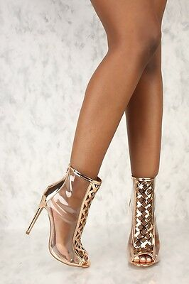 Clear Transparent Open Peep Toe Stiletto Heel Ankle Booties - Rose Gold