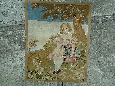Berlin Wool Tapestry. Young Girl with Dog. Circa 19th.