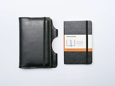 NEW Kendal & Hyde BLACK Leather Moleskine Cover w/ FREE NOTEBOOK