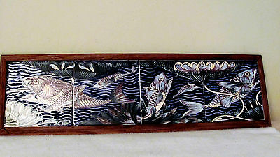 Framed Ceramic Tile Art Mural of Fish- (William De Morgan-Persian Fish Tiles?)