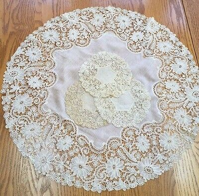 "Antique DUCHESSE Lace Table Topper 24""  & 8 Cocktail Rounds 6"" Ecru Linen  D56"