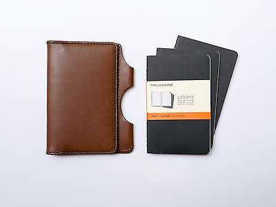 NEW Kendal & Hyde MOCHA Leather Pocket Notebook Cover w/ FREE NOTEBOOKS
