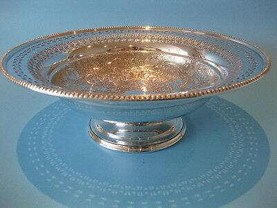 Beautiful Large Silver Plate Pedestal Bowl with Lovely Pierced & Engraved Detail