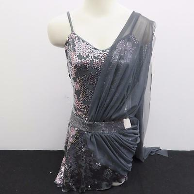 Dance Costume Large Adult Silver Gray Sequin Shortall Lyrical Solo Competition