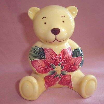 Old Tupton Ware Teddy Bear Ornament Tube Lined Hand Painted- Poinsettia Design