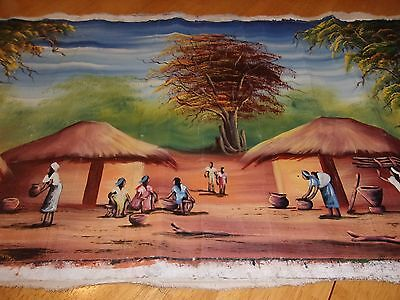 Original African Art Unsigned Large Acrylic Painting On Canvas Ethnic No Frame