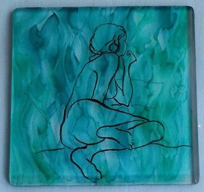 Stunning female nude glass tile by Gwen Turner - 4 inch square