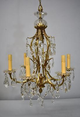 Brass and Crystal Six Arm Chandelier LIght Fixture