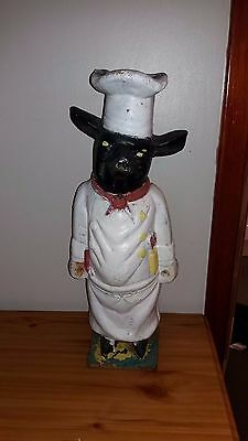 VINTAGE 58 cm  Cast Iron Butchers Pig/ Chef pig retro