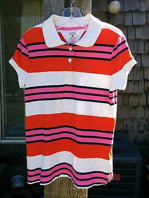 Tommy Hilfiger Girls Sz M (8-10) Short Sleeve Multicolor Striped Polo Shirt EUC