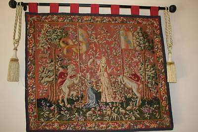 Antique hand done needlework  tapestry 3 or 4 different stitches W/ petite point
