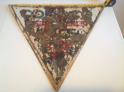 "Conoco 28"" Double Sided Porcelain Sign (Oil/Gas Advertising) Poor Condition!"